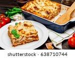 lasagna in baking dish   Shutterstock . vector #638710744