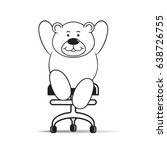 happy cartoon bear sitting on...   Shutterstock .eps vector #638726755