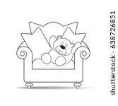 cartoon bear sleeping on chair...   Shutterstock .eps vector #638726851