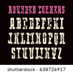 narrow serif font with rounded... | Shutterstock .eps vector #638726917