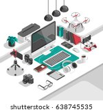 flat isometric 3d workspace... | Shutterstock .eps vector #638745535