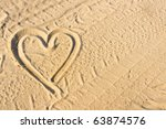 Heart Sign Drawn On Sand