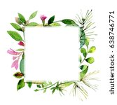 watercolor frame of colorful... | Shutterstock . vector #638746771