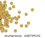 Gold Coins Isolated On White...