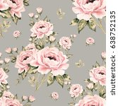 seamless pattern of bouquets of ... | Shutterstock . vector #638752135