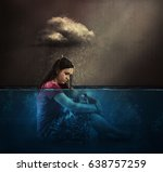 a woman rained on by a single... | Shutterstock . vector #638757259