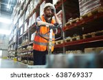 tired worker with forklift... | Shutterstock . vector #638769337