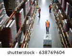 busy workers inside storehouse... | Shutterstock . vector #638769604