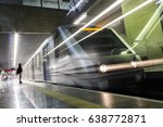 train leaving the plataform at... | Shutterstock . vector #638772871