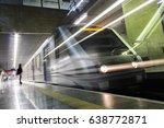 train leaving the plataform at... | Shutterstock . vector #638772871