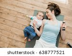top view of mother with baby... | Shutterstock . vector #638777521