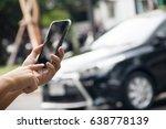 man hand holding smart phone...   Shutterstock . vector #638778139