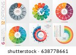 collection of 6 vector circle... | Shutterstock .eps vector #638778661