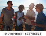 four buddies with drinks... | Shutterstock . vector #638786815