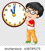 boy looking at clock on... | Shutterstock .eps vector #638789275