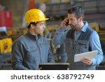 male supervisor talking on... | Shutterstock . vector #638792749
