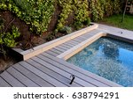 back yard swimming pool with... | Shutterstock . vector #638794291