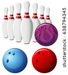 bowling pins and balls in... | Shutterstock .eps vector #638794345