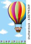 many children flying on... | Shutterstock .eps vector #638794369