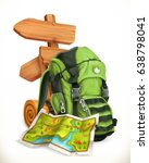travel. map  tourist backpack... | Shutterstock .eps vector #638798041