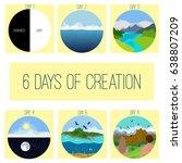six days of creation. genesis.  ... | Shutterstock .eps vector #638807209