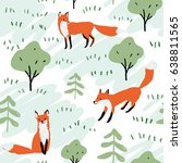 red foxes in the woodland ... | Shutterstock .eps vector #638811565