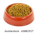 Cat/dog dry food in red bowl; isolated, clipping path included - stock photo