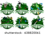 save jungle emblems with... | Shutterstock .eps vector #638820061