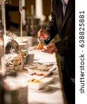 businessman hands taking food... | Shutterstock . vector #638825881