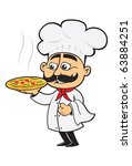 italian chef with a fresh pizza | Shutterstock .eps vector #63884251