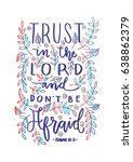 trust in the lord. bible verse. ... | Shutterstock .eps vector #638862379