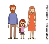 color image caricature family... | Shutterstock .eps vector #638863261