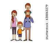 color image caricature family... | Shutterstock .eps vector #638863279