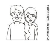 silhouette caricature half body ... | Shutterstock .eps vector #638866861