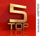 gold top 5 rating sign  review  ... | Shutterstock . vector #638879329