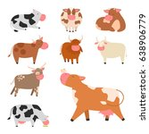bulls cows farm animal... | Shutterstock .eps vector #638906779