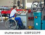 disabled worker in wheelchair... | Shutterstock . vector #638910199