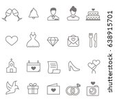 wedding line icons | Shutterstock .eps vector #638915701
