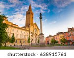 Piacenza, medieval town, Italy. Piazza Duomo in the city center with the cathedral of Santa Maria Assunta and Santa Giustina, warm light at sunset. Emilia Romagna