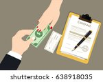 woman businessman handed over... | Shutterstock .eps vector #638918035
