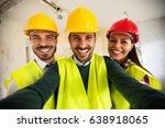 funny architects workers taking ... | Shutterstock . vector #638918065