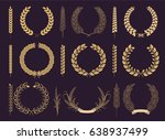 laurel wreaths and branches... | Shutterstock .eps vector #638937499