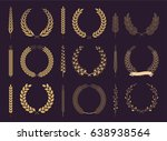 laurel wreaths and branches... | Shutterstock .eps vector #638938564