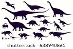 set  silhouettes  dino... | Shutterstock .eps vector #638940865