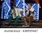 Small photo of KYIV, UKRAINE - MAY 10, 2017: Musical band G-ART with Eurovision presenters before the start of the second semifinal rehearsal during Eurovision Song Contest, in Kyiv, Ukraine