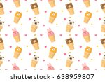 Stock vector cute animal face ice cream seamless pattern vector background 638959807