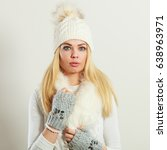 winter fashion. young blonde... | Shutterstock . vector #638963971