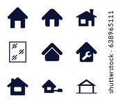 residence icons set. set of 9... | Shutterstock .eps vector #638965111