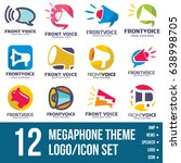 megaphone logo icon bundle | Shutterstock .eps vector #638998705