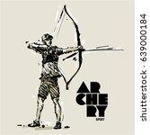 archery. sketch style vector... | Shutterstock .eps vector #639000184